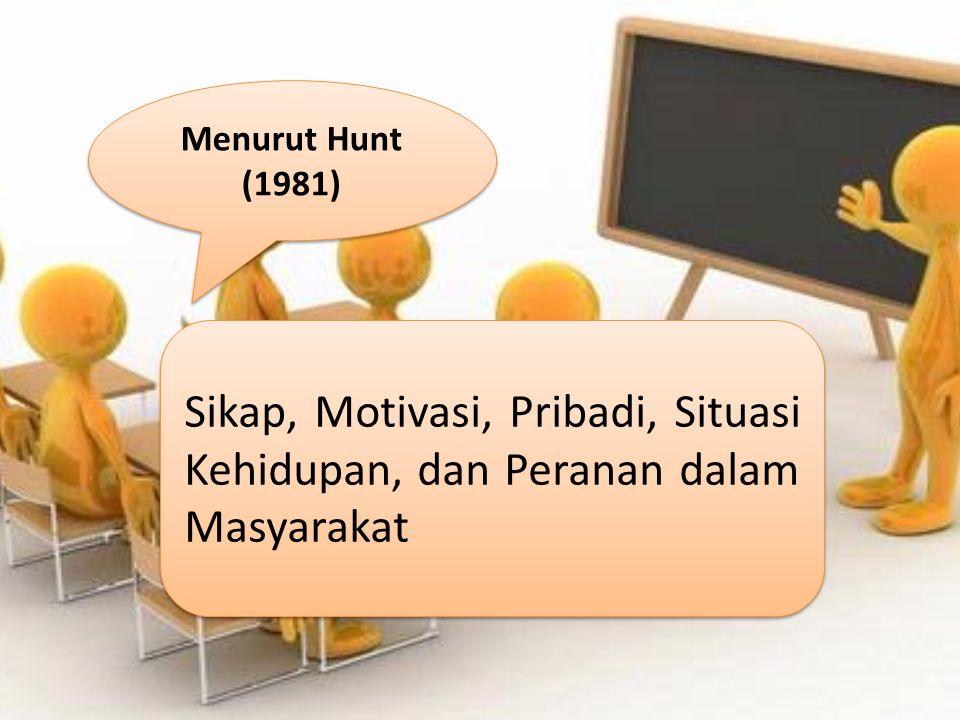 Menurut Hunt (1981) Sikap, Motivasi, Pribadi, Situasi Kehidupan, dan Peranan dalam Masyarakat