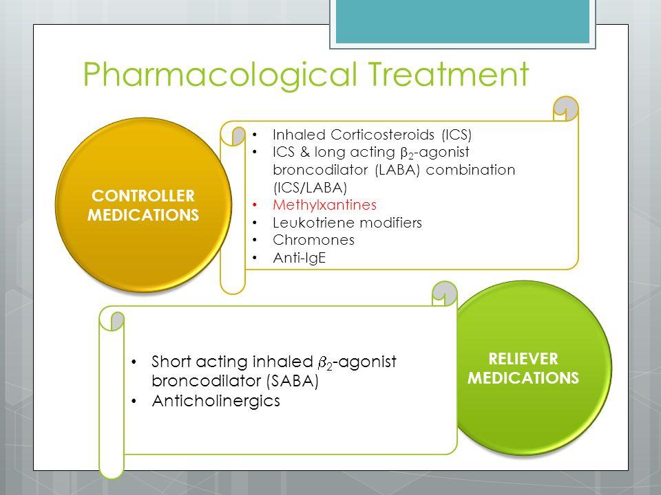 Pharmacological Treatment Inhaled Corticosteroids (ICS) ICS & long acting  2 -agonist broncodilator (LABA) combination (ICS/LABA) Methylxantines Leukotriene modifiers Chromones Anti-IgE CONTROLLER MEDICATIONS RELIEVER MEDICATIONS Short acting inhaled  2 -agonist broncodilator (SABA) Anticholinergics