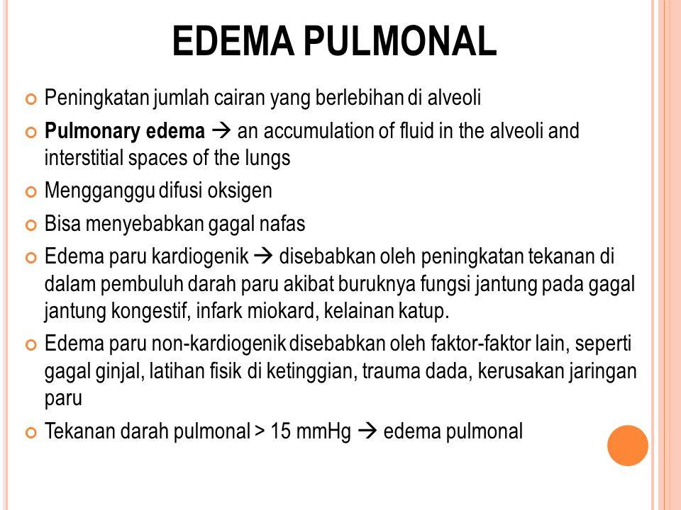EDEMA PULMONAL Peningkatan jumlah cairan yang berlebihan di alveoli Pulmonary edema  an accumulation of fluid in the alveoli and interstitial spaces