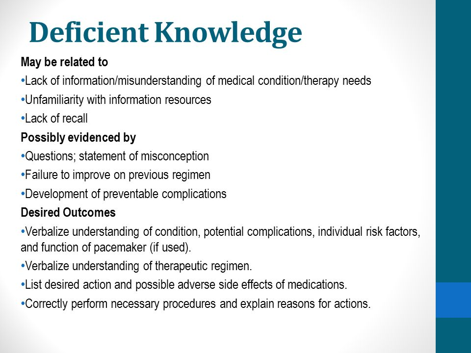 Deficient Knowledge May be related to Lack of information/misunderstanding of medical condition/therapy needs Unfamiliarity with information resources Lack of recall Possibly evidenced by Questions; statement of misconception Failure to improve on previous regimen Development of preventable complications Desired Outcomes Verbalize understanding of condition, potential complications, individual risk factors, and function of pacemaker (if used).