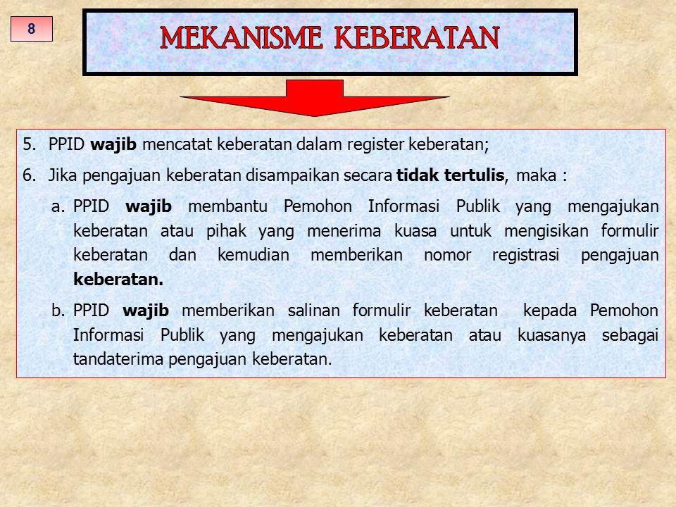 5.PPID wajib mencatat keberatan dalam register keberatan; 6.Jika pengajuan keberatan disampaikan secara tidak tertulis, maka : a.PPID wajib membantu P