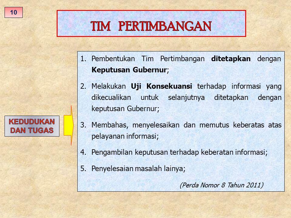 1.Pembentukan Tim Pertimbangan ditetapkan dengan Keputusan Gubernur; 2.Melakukan Uji Konsekuansi terhadap informasi yang dikecualikan untuk selanjutny