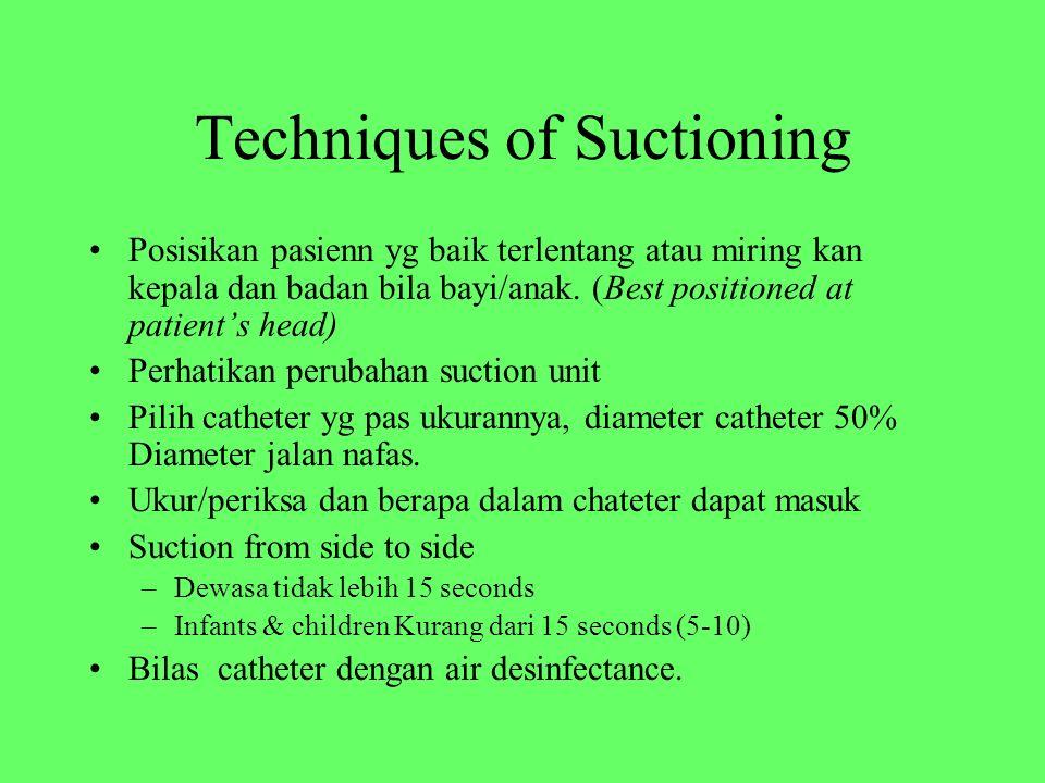 Techniques of Suctioning Posisikan pasienn yg baik terlentang atau miring kan kepala dan badan bila bayi/anak. (Best positioned at patient's head) Per