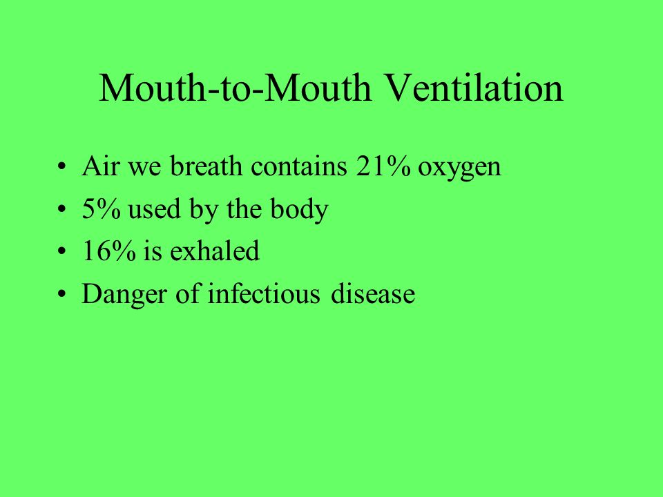 Mouth-to-Mouth Ventilation Air we breath contains 21% oxygen 5% used by the body 16% is exhaled Danger of infectious disease