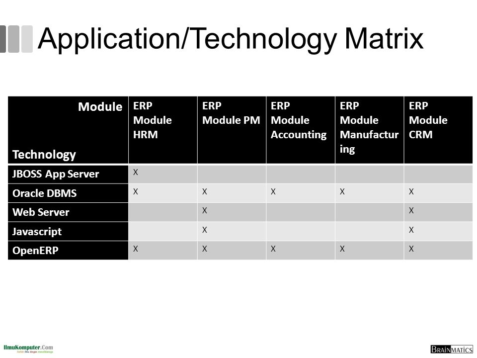 Application/Technology Matrix Module Technology ERP Module HRM ERP Module PM ERP Module Accounting ERP Module Manufactur ing ERP Module CRM JBOSS App