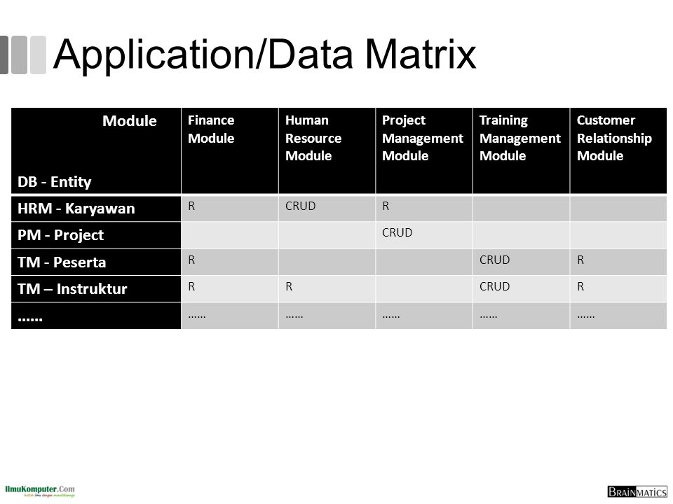 Application/Data Matrix Module DB - Entity Finance Module Human Resource Module Project Management Module Training Management Module Customer Relation