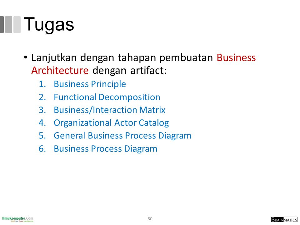 Tugas Lanjutkan dengan tahapan pembuatan Business Architecture dengan artifact: 1.Business Principle 2.Functional Decomposition 3.Business/Interaction