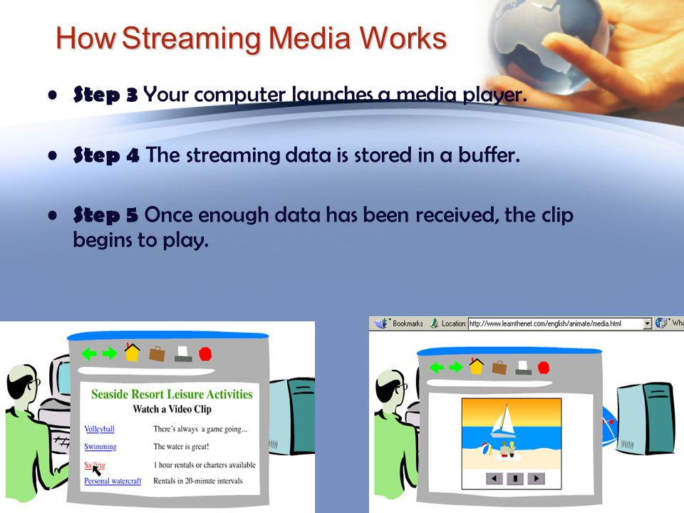 How Streaming Media Works Step 3 Your computer launches a media player. Step 4 The streaming data is stored in a buffer. Step 5 Once enough data has b