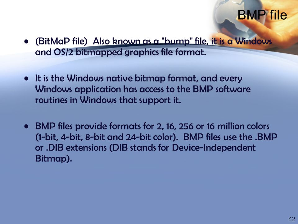 BMP file (BitMaP file) Also known as a