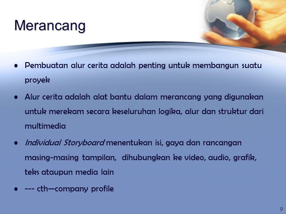Pembuatan A multi media authoring program adalah; digunakan untuk membuat presentasi multimedia yang interaktif, penggunaan element yang berbeda diterapkan pada alur cerita seperti graphics, sound, dan video Program pembuatan Multimedia; macromedia director, authorware and toolboox 10