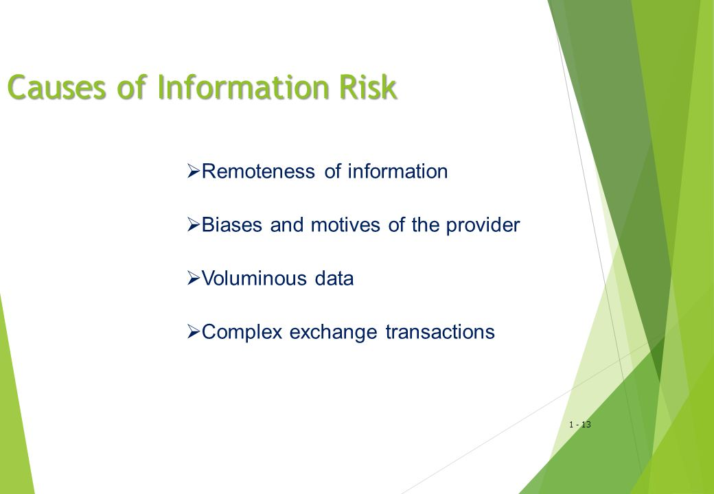 1 - 13 Causes of Information Risk  Remoteness of information  Biases and motives of the provider  Voluminous data  Complex exchange transactions