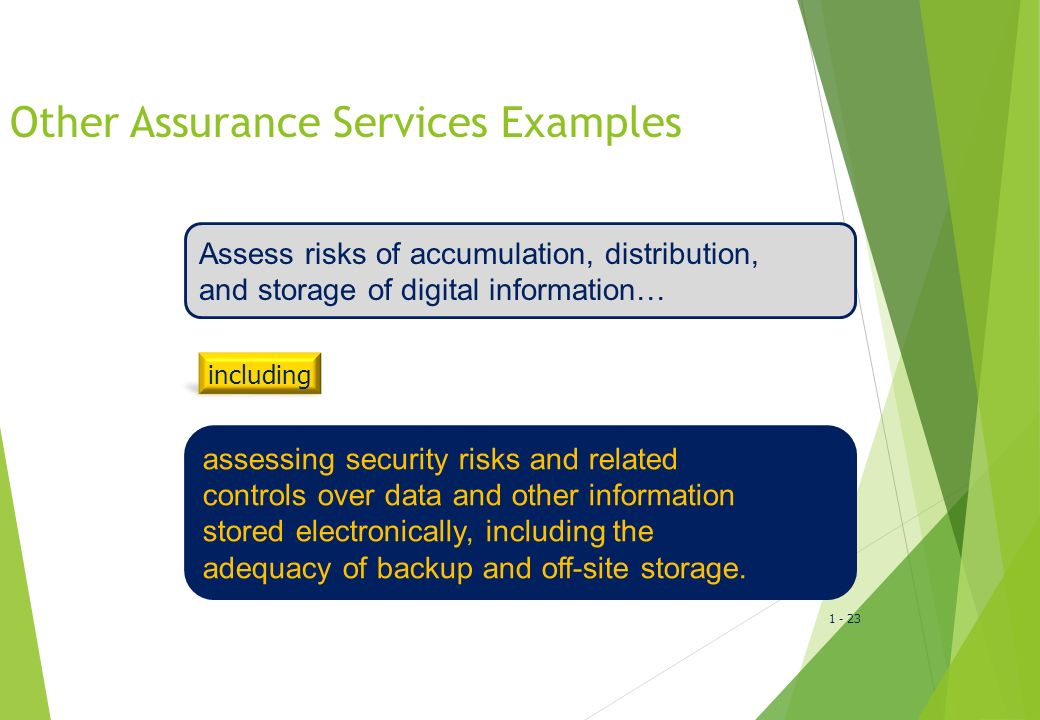 1 - 24 Other Assurance Services Examples  Compliance with trading policies and procedures  Compliance with entertainment royalty agreements  ISO 900 certification  Environmental audit