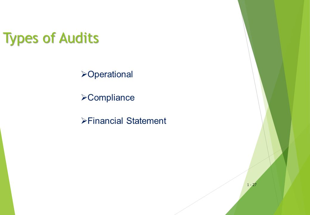 1 - 28 Operational Audit Example Evaluate computerized payroll system for efficiency and effectiveness Information Number of records processed, costs of the department, and number of errors Established Criteria Company standards for efficiency and effectiveness in payroll department Available Evidence Error reports, payroll records, and payroll processing costs