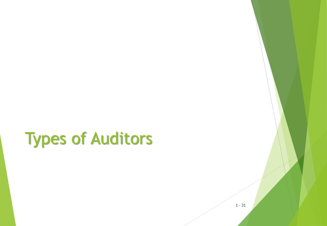 1 - 32 Types of Auditors  Internal auditors  Independent certified public accounting firms  Internal Revenue agents  Governmental general accounting office auditors