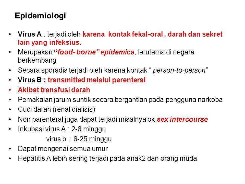 """Epidemiologi Virus A : terjadi oleh karena kontak fekal-oral, darah dan sekret lain yang infeksius. Merupakan """"food- borne"""" epidemics, terutama di neg"""