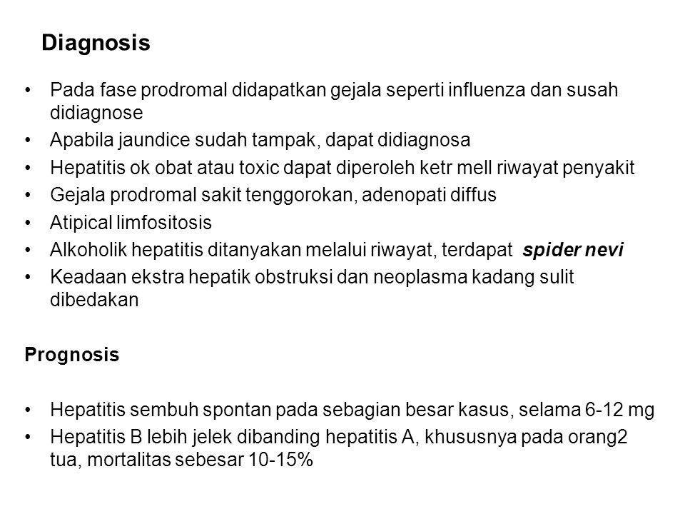 Diagnosis Pada fase prodromal didapatkan gejala seperti influenza dan susah didiagnose Apabila jaundice sudah tampak, dapat didiagnosa Hepatitis ok obat atau toxic dapat diperoleh ketr mell riwayat penyakit Gejala prodromal sakit tenggorokan, adenopati diffus Atipical limfositosis Alkoholik hepatitis ditanyakan melalui riwayat, terdapat spider nevi Keadaan ekstra hepatik obstruksi dan neoplasma kadang sulit dibedakan Prognosis Hepatitis sembuh spontan pada sebagian besar kasus, selama 6-12 mg Hepatitis B lebih jelek dibanding hepatitis A, khususnya pada orang2 tua, mortalitas sebesar 10-15%