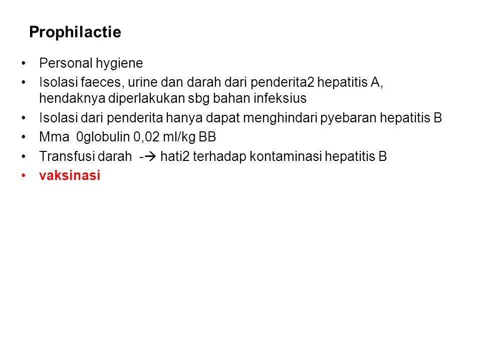 Prophilactie Personal hygiene Isolasi faeces, urine dan darah dari penderita2 hepatitis A, hendaknya diperlakukan sbg bahan infeksius Isolasi dari penderita hanya dapat menghindari pyebaran hepatitis B Mma 0globulin 0,02 ml/kg BB Transfusi darah -  hati2 terhadap kontaminasi hepatitis B vaksinasi