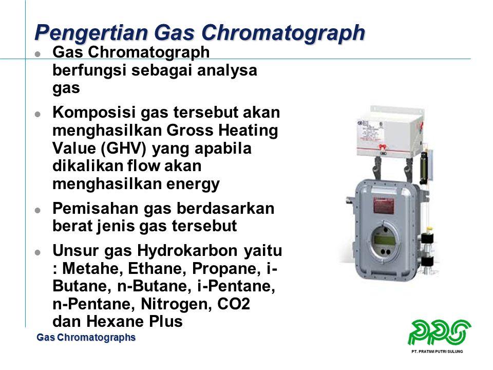 Gas Chromatographs Pengertian Gas Chromatograph Gas Chromatograph berfungsi sebagai analysa gas Komposisi gas tersebut akan menghasilkan Gross Heating