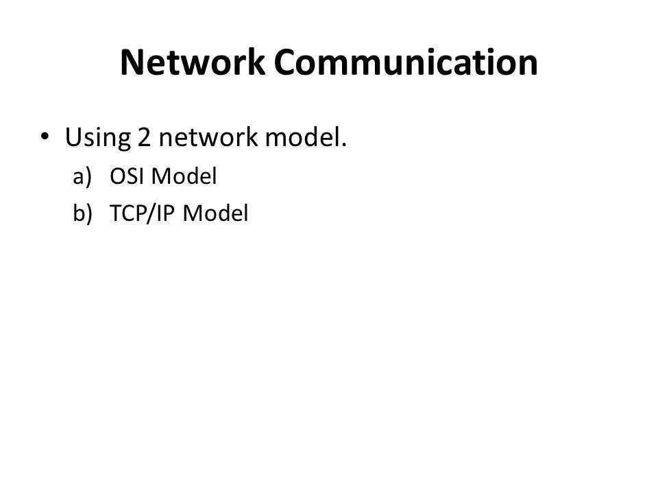 Network Communication Using 2 network model. a)OSI Model b)TCP/IP Model