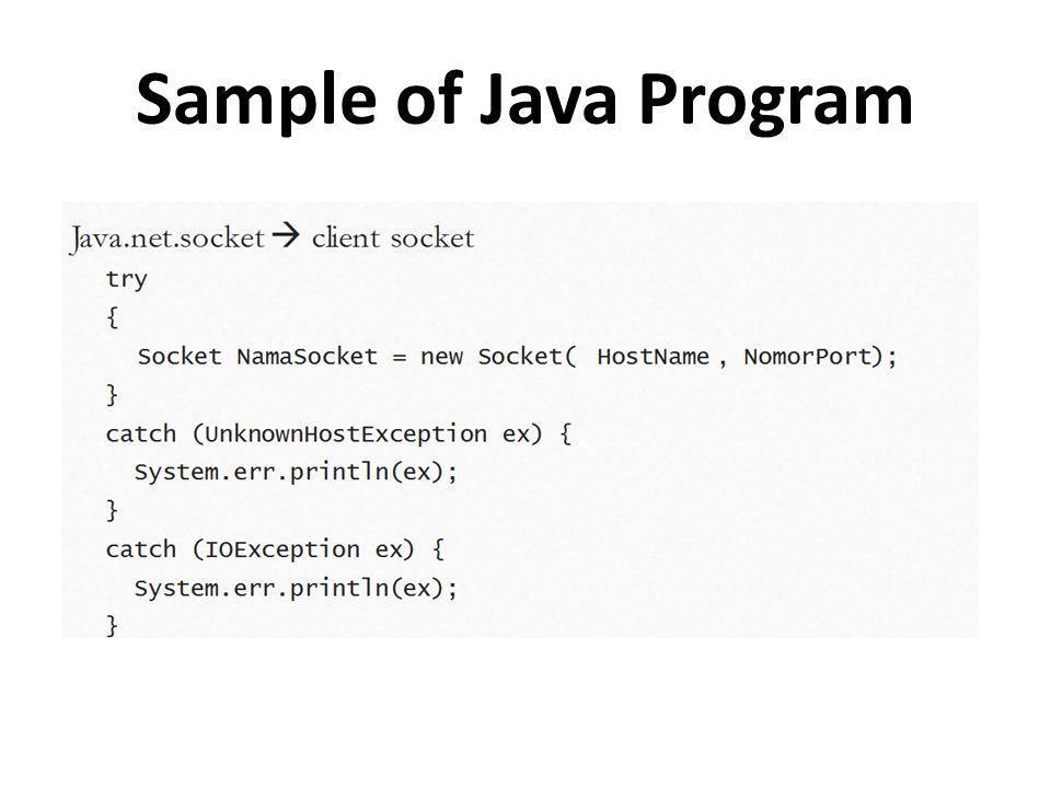 Sample of Java Program
