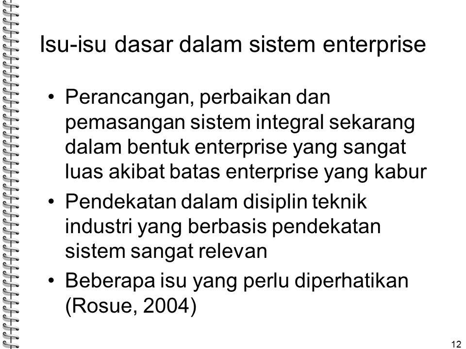 Isu-isu dasar dalam sistem enterprise Perancangan, perbaikan dan pemasangan sistem integral sekarang dalam bentuk enterprise yang sangat luas akibat batas enterprise yang kabur Pendekatan dalam disiplin teknik industri yang berbasis pendekatan sistem sangat relevan Beberapa isu yang perlu diperhatikan (Rosue, 2004) 12