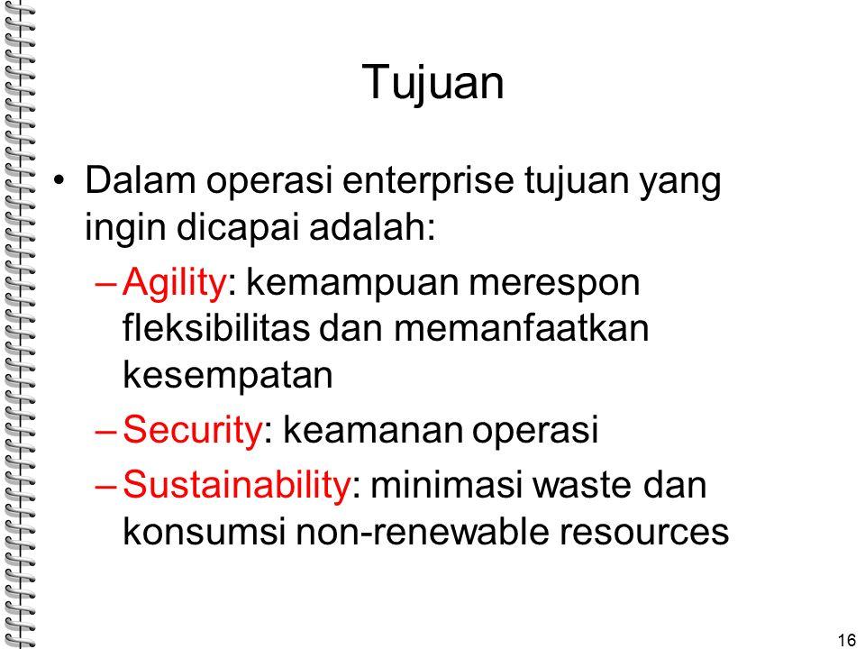 Tujuan Dalam operasi enterprise tujuan yang ingin dicapai adalah: –Agility: kemampuan merespon fleksibilitas dan memanfaatkan kesempatan –Security: keamanan operasi –Sustainability: minimasi waste dan konsumsi non-renewable resources 16