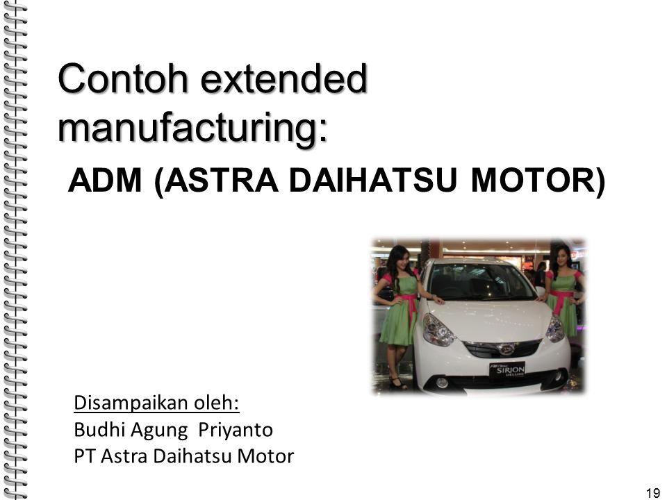 ADM (ASTRA DAIHATSU MOTOR) Contoh extended manufacturing: 19 Disampaikan oleh: Budhi Agung Priyanto PT Astra Daihatsu Motor