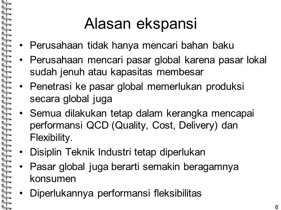 Alasan ekspansi Perusahaan tidak hanya mencari bahan baku Perusahaan mencari pasar global karena pasar lokal sudah jenuh atau kapasitas membesar Penetrasi ke pasar global memerlukan produksi secara global juga Semua dilakukan tetap dalam kerangka mencapai performansi QCD (Quality, Cost, Delivery) dan Flexibility.