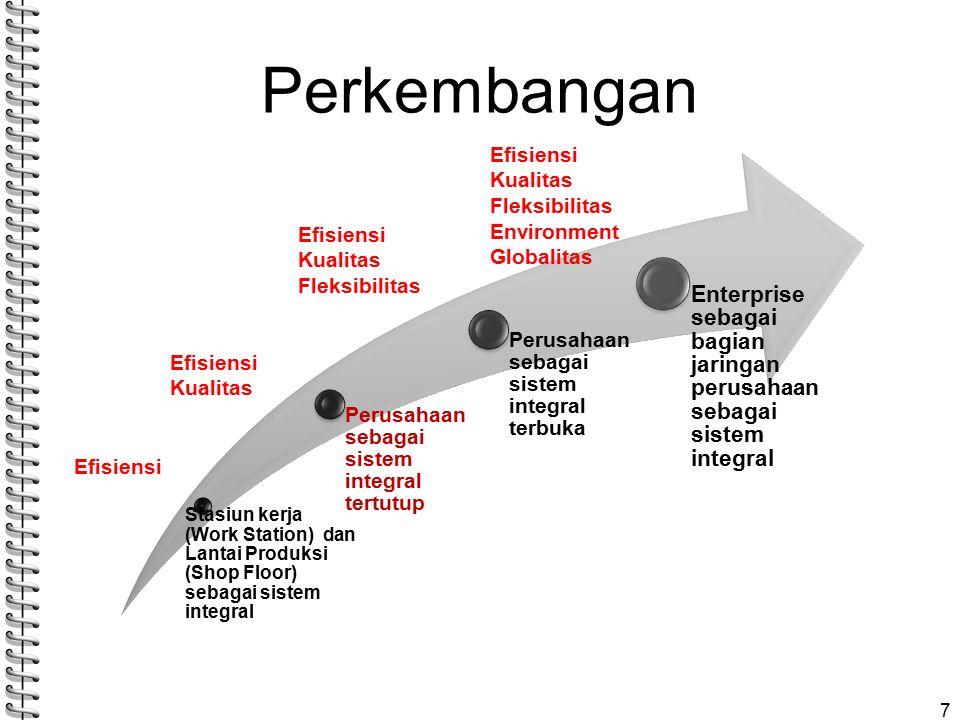 Perkembangan 7 Stasiun kerja (Work Station) dan Lantai Produksi (Shop Floor) sebagai sistem integral Perusahaan sebagai sistem integral tertutup Perusahaan sebagai sistem integral terbuka Enterprise sebagai bagian jaringan perusahaan sebagai sistem integral Efisiensi Kualitas Efisiensi Kualitas Fleksibilitas Efisiensi Kualitas Fleksibilitas Environment Globalitas