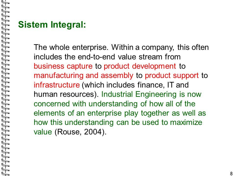 Pengaruh global dan networking Kombinasi pengaruh networking dan globalisasi membuat batas sebuah enterprise menjadi semakin tidak jelas 9 Pendekatan sistemik melihat pengaruh lingkungan tempat sistem beroperasi Enterprise menjadi lebih luas: perusahaan – supplier – distributor – customer – stakeholder lain – pesaing