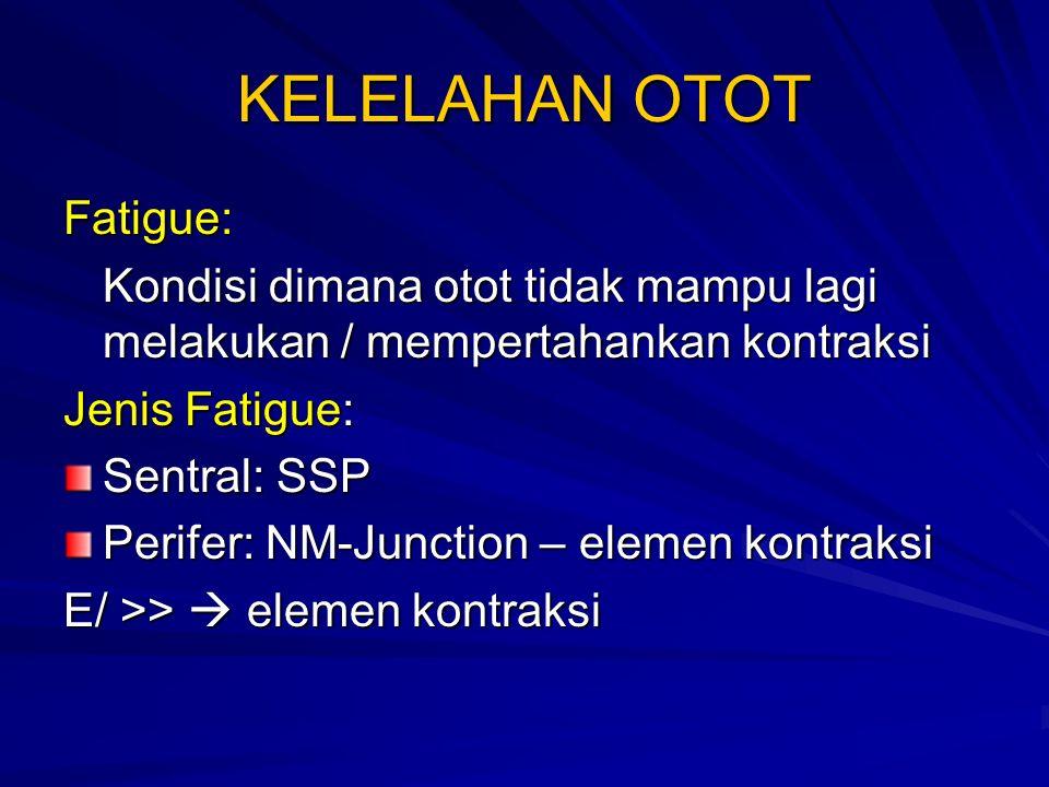 KELELAHAN OTOT Fatigue: Kondisi dimana otot tidak mampu lagi melakukan / mempertahankan kontraksi Jenis Fatigue: Sentral: SSP Perifer: NM-Junction – elemen kontraksi E/ >>  elemen kontraksi
