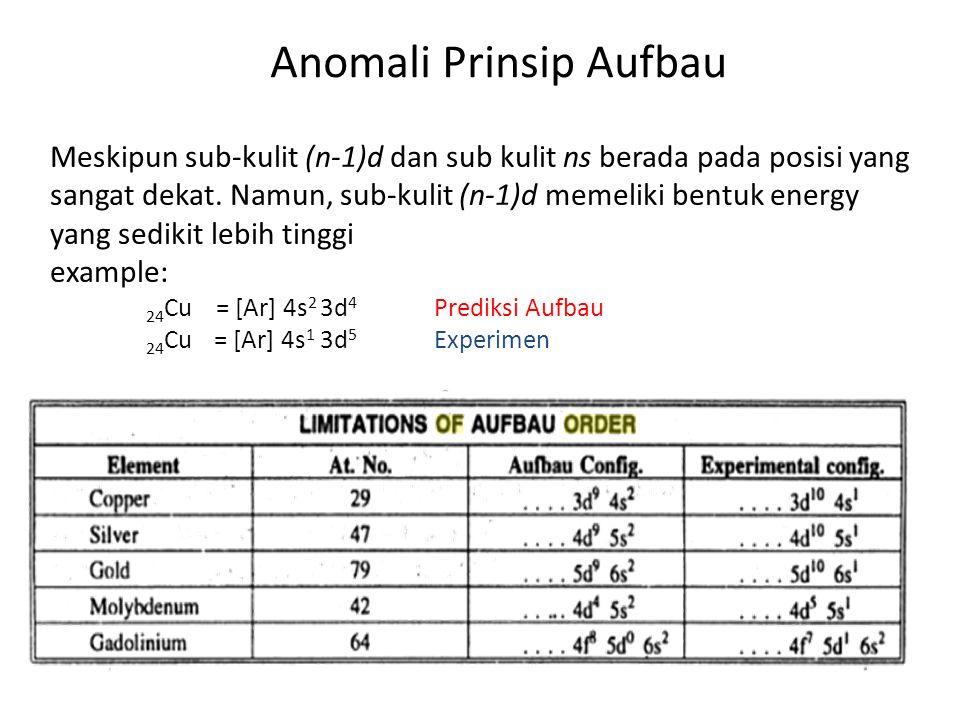 Anomali Prinsip Aufbau Meskipun sub-kulit (n-1)d dan sub kulit ns berada pada posisi yang sangat dekat.