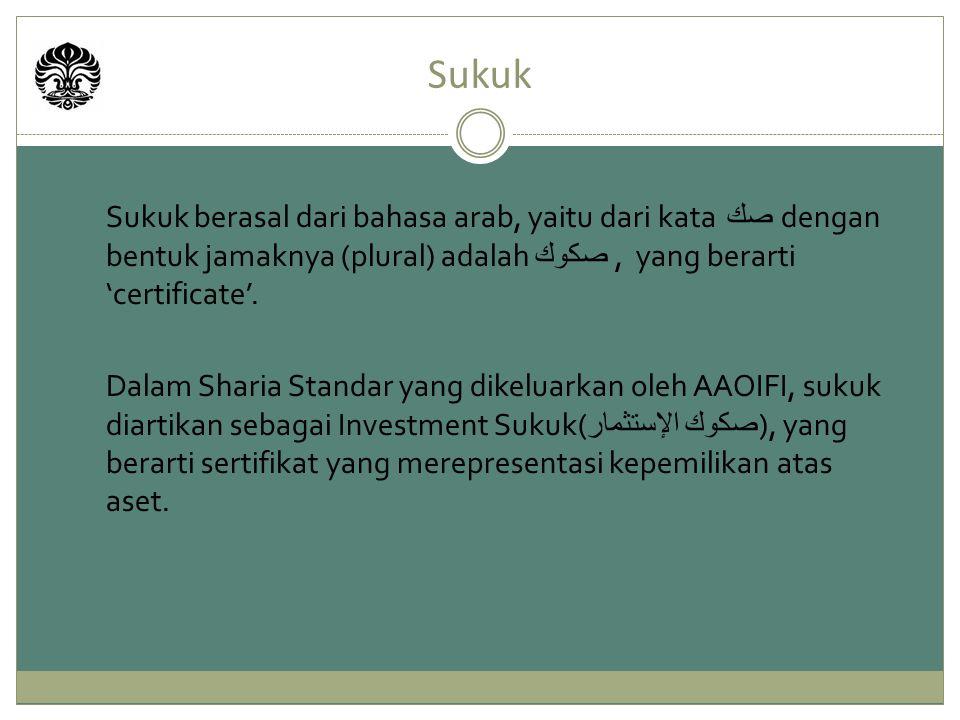 Sukuk berasal dari bahasa arab, yaitu dari kata صك dengan bentuk jamaknya (plural) adalah صكوك, yang berarti 'certificate'. Dalam Sharia Standar yang