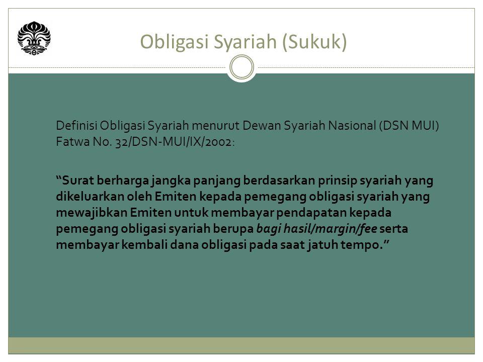 """Obligasi Syariah (Sukuk) Definisi Obligasi Syariah menurut Dewan Syariah Nasional (DSN MUI) Fatwa No. 32/DSN-MUI/IX/2002: """"Surat berharga jangka panja"""