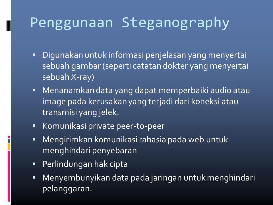 Penggunaan Steganography  Digunakan untuk informasi penjelasan yang menyertai sebuah gambar (seperti catatan dokter yang menyertai sebuah X-ray)  Menanamkan data yang dapat memperbaiki audio atau image pada kerusakan yang terjadi dari koneksi atau transmisi yang jelek.