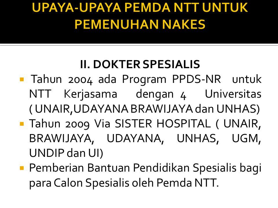 II. DOKTER SPESIALIS  Tahun 2004 ada Program PPDS-NR untuk NTT Kerjasama dengan 4 Universitas ( UNAIR,UDAYANA BRAWIJAYA dan UNHAS)  Tahun 2009 Via S