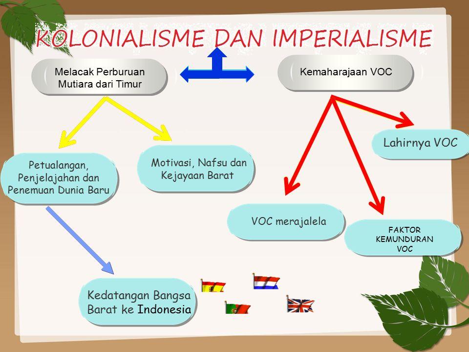 TUJUAN PEMBELAJARAN Melacak proses kedatangan bangsa barat ke Indonesia. Menganalisis kemaharajaan VOC.