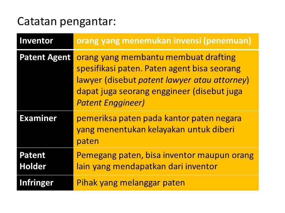 Catatan pengantar: Inventororang yang menemukan invensi (penemuan) Patent Agentorang yang membantu membuat drafting spesifikasi paten. Paten agent bis