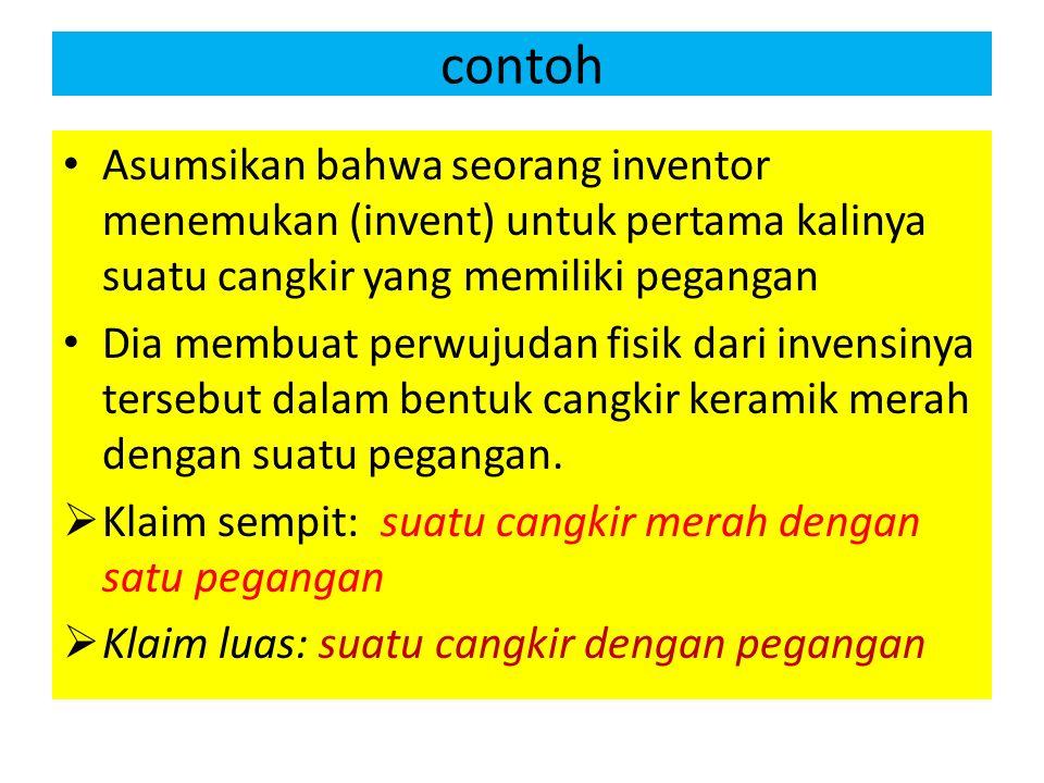 contoh Asumsikan bahwa seorang inventor menemukan (invent) untuk pertama kalinya suatu cangkir yang memiliki pegangan Dia membuat perwujudan fisik dar