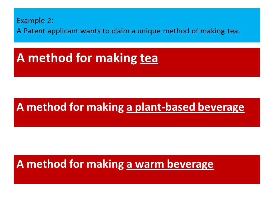Example 2: A Patent applicant wants to claim a unique method of making tea.