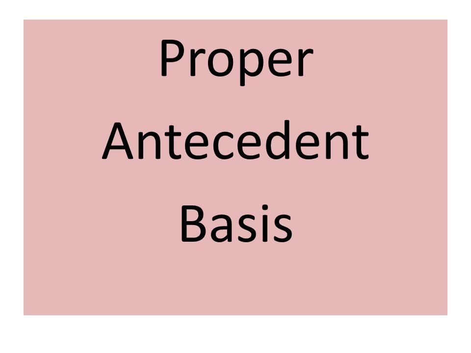 Proper Antecedent Basis
