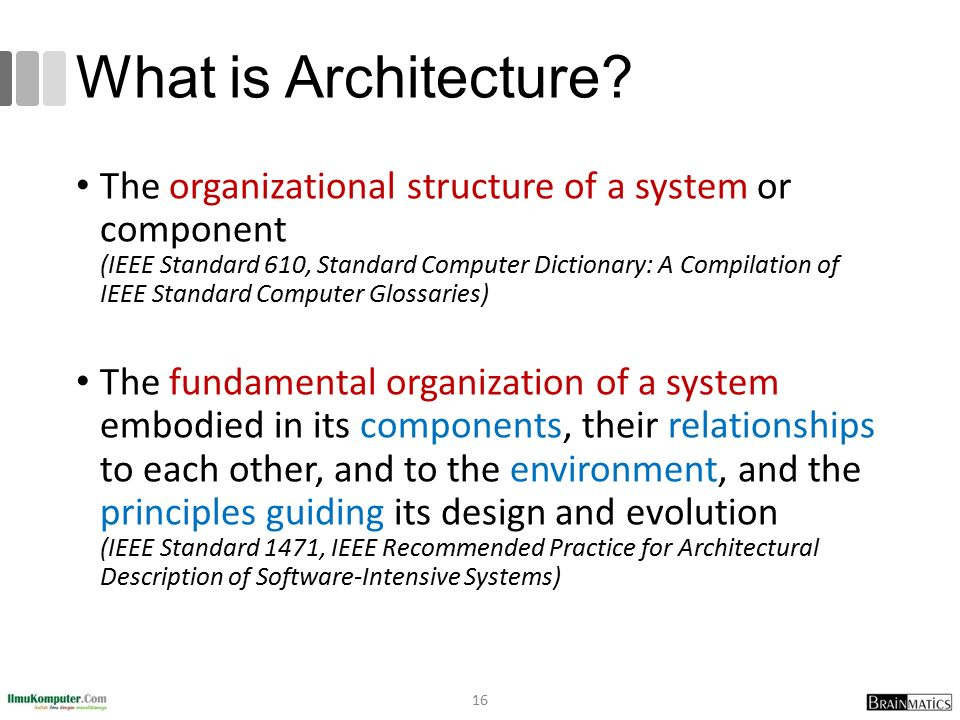 What is Architecture? The organizational structure of a system or component (IEEE Standard 610, Standard Computer Dictionary: A Compilation of IEEE St