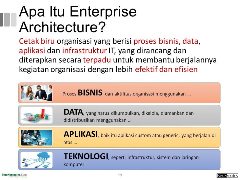 Apa Itu Enterprise Architecture? Cetak biru organisasi yang berisi proses bisnis, data, aplikasi dan infrastruktur IT, yang dirancang dan diterapkan s