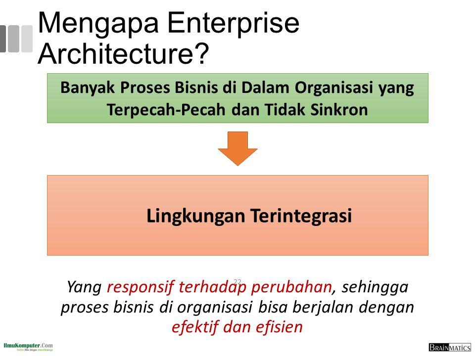 Mengapa Enterprise Architecture? Yang responsif terhadap perubahan, sehingga proses bisnis di organisasi bisa berjalan dengan efektif dan efisien 22 B