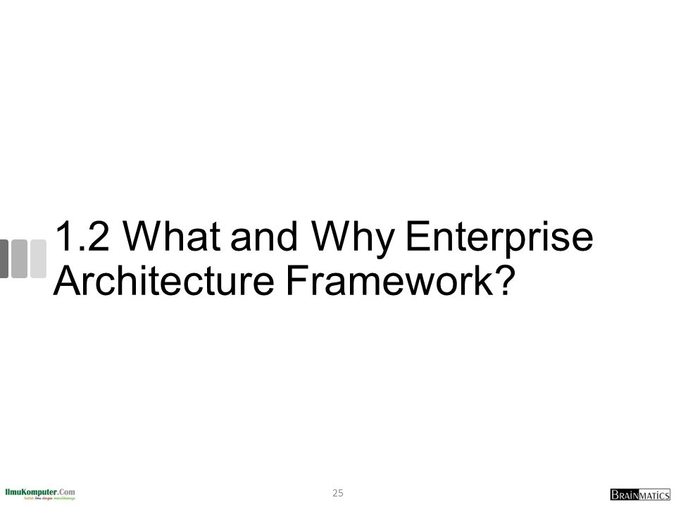 1.2 What and Why Enterprise Architecture Framework? 25