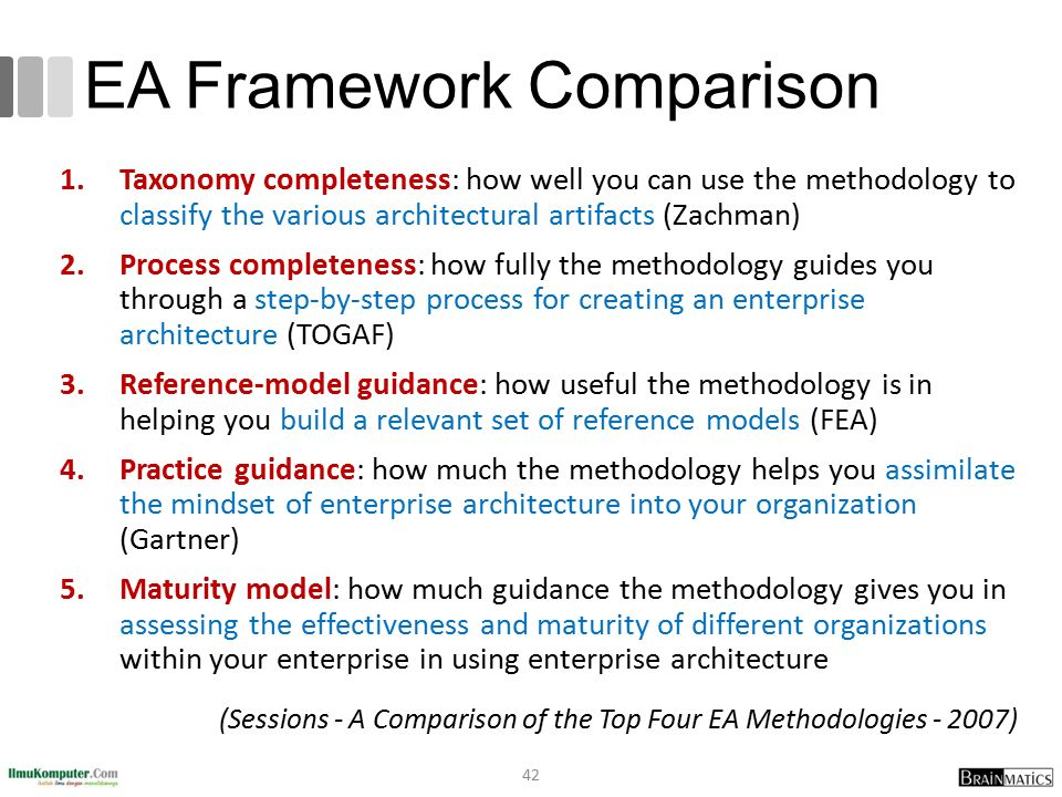 EA Framework Comparison 1.Taxonomy completeness: how well you can use the methodology to classify the various architectural artifacts (Zachman) 2.Proc