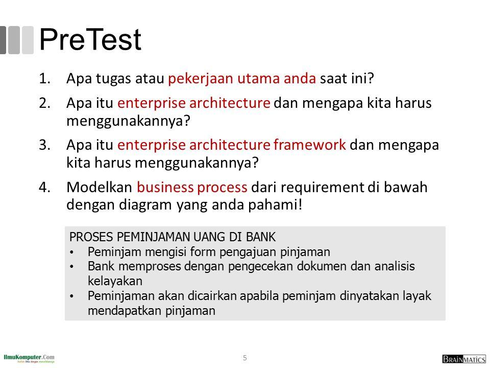 PreTest 1.Apa tugas atau pekerjaan utama anda saat ini? 2.Apa itu enterprise architecture dan mengapa kita harus menggunakannya? 3.Apa itu enterprise