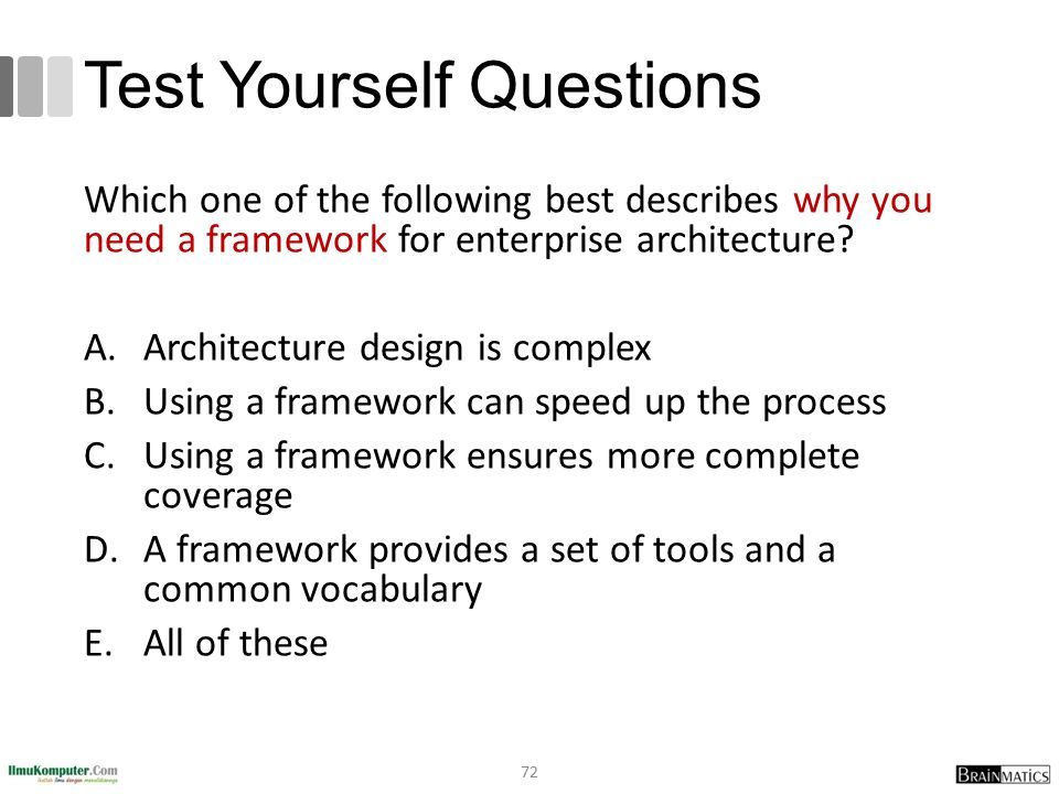 Test Yourself Questions Which one of the following best describes why you need a framework for enterprise architecture? A.Architecture design is compl