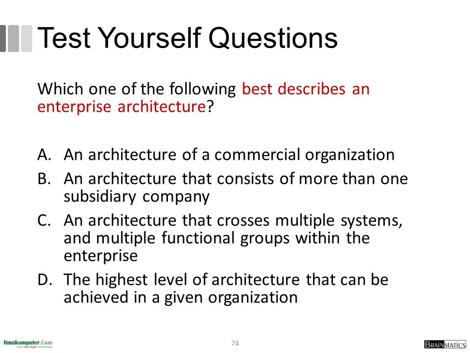 Test Yourself Questions Which one of the following best describes an enterprise architecture? A.An architecture of a commercial organization B.An arch