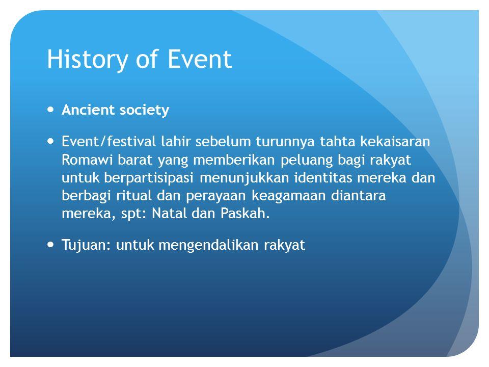 History of Event Ancient society Event/festival lahir sebelum turunnya tahta kekaisaran Romawi barat yang memberikan peluang bagi rakyat untuk berpart